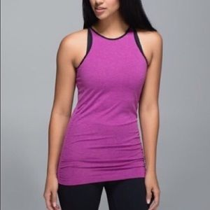 Lululemon In The Flow Plum High Neck Tank